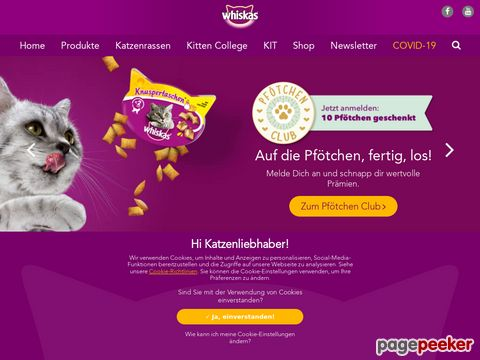 whiskas.ch - toller Katzenratgeber (Ernährung, Gesundheit, Verhalten, Lifestyle)