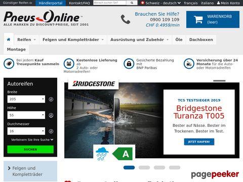 reifen-pneus-online.ch - PNEUS ONLINE Schweiz - Reifen, Online Reifen, Autoreifen, Winterreifen, Sommerreifen günstig online