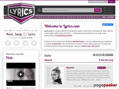 Lyrics.com - Songtexte aller Art