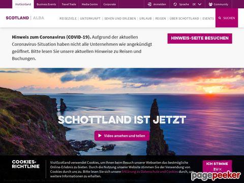 Webseite des Fremdenverkehrsamt Schottlands