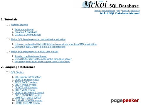 Mckoi SQL Database Manual