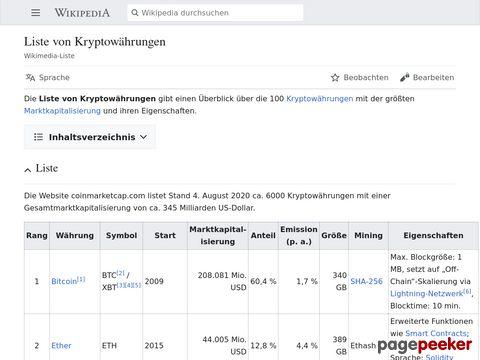 Liste von Kryptowährungen – Wikipedia