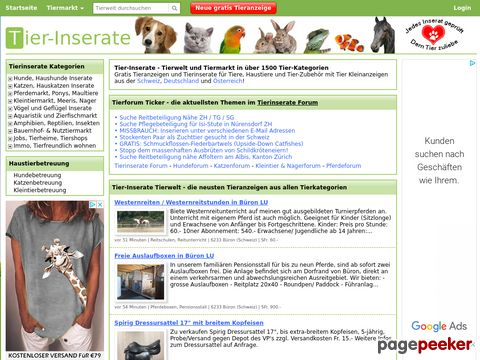 Tier-Inserate.ch - Gratis Tierinserate in über 350 Tierkategorien