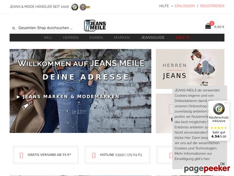 jeans-meile.de - Jeans Meile mein Marken-OnlineShop  Levis, Wrangler, Mustang, Mavi....
