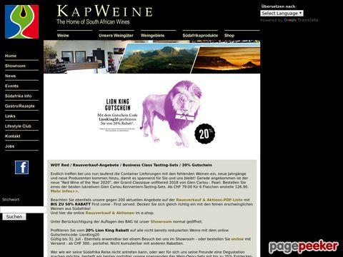 kapweine.ch - KapWeine - Premium Wines from SA (South Africa / Südafrika)