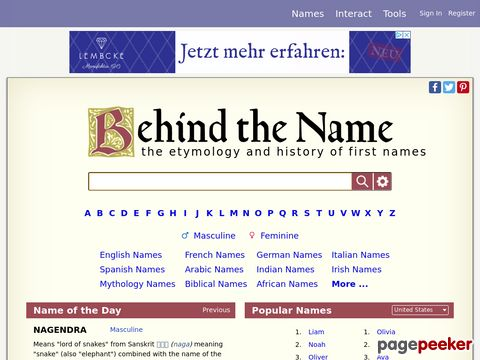 Behind the Name - the Etymology and History of First Names