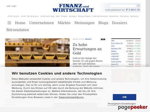 Finanz und Wirtschaft - Onlineplattform für private und institutionelle Anleger