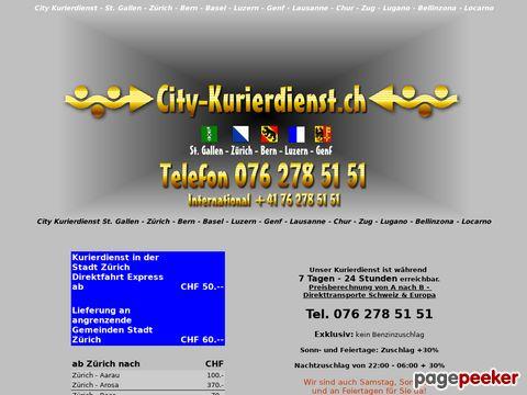 Zürich City-Kurierdienst.ch - Kurierdienst Express Kurier Eilsendung 24 Stunden / 7 Tage Tel. 076 278 51 51