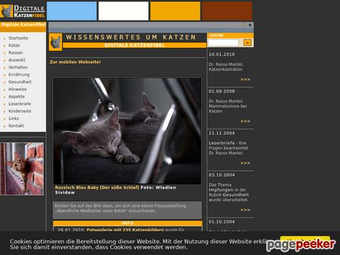 Digitale Katzenfibel - Wissenswertes rund um Katzen und ihre Haltung.
