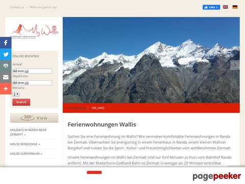 Ferienwohnung Wallis, Randa bei Zermatt ¦ Schweiz, Ferienhaus Wallis