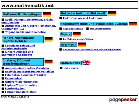 mathematik.net - Lehrgang, Links, Buchtips