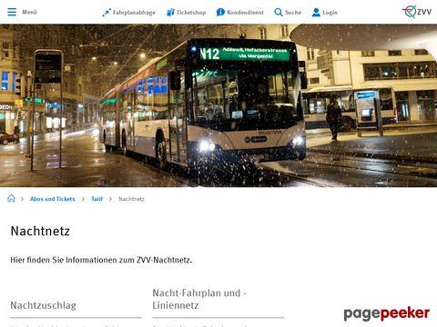 ZVV - Nachtnetz - ÖV-Nachtfahrplan - Kanton Zürich