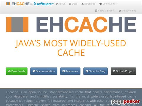 Ehcache - java distributed cache for general purpose caching, Java EE and light-weight containers