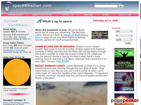 SpaceWeather.com - News and information about meteor showers, solar flares, auroras, and near-Earth asteroids