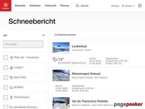 snow.myswitzerland.com - Informationen über die Schneeverhältnisse in den Schweizer Bergen.