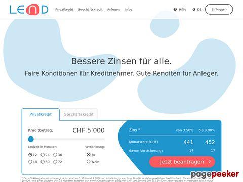 fweb.ch: LEND.ch  Der Kredit mit besseren Zinsen  Crowdlending