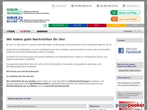 gubler.ch - GUBLER AG - Tischtennis - Billard - Dart - Fussballtisch