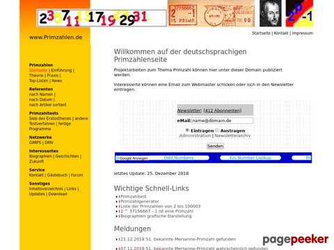 primzahlen.de - alles über Primzahlen