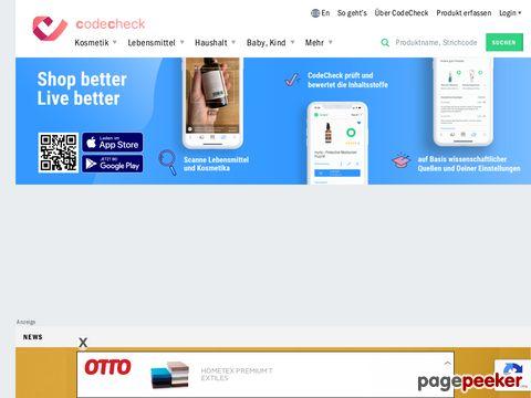 CODECHECK.CH - Suche nach Produktnamen, Inhaltsstoffe und Hersteller