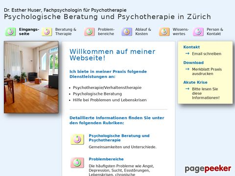 praxispsychologie.ch - Dr. phil. Esther Huser - Psychotherapie - Verhaltenstherapie - psychologische Beratung