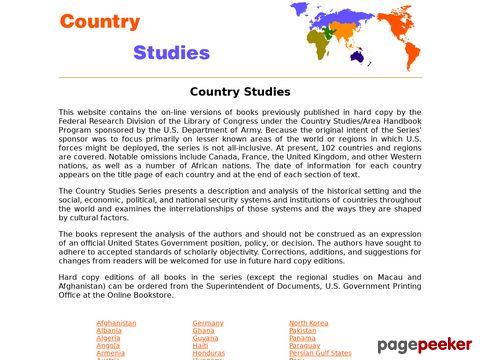 Country Studies - umfangreiche Informationen/Studien zu vielen Ländern der Welt