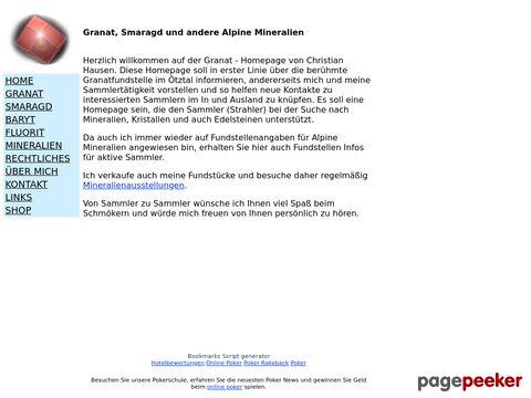 Alpine Mineralien und Granatstufen