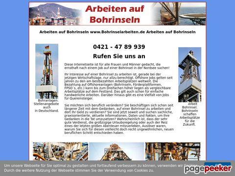 Arbeit auf Bohrinsel. Rufen Sie an. (+49) 0421 - 47 89 939