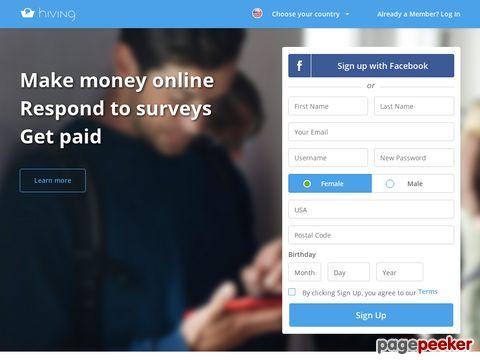 Hiving - bezahlte Umfragen für interessierte Verbraucher