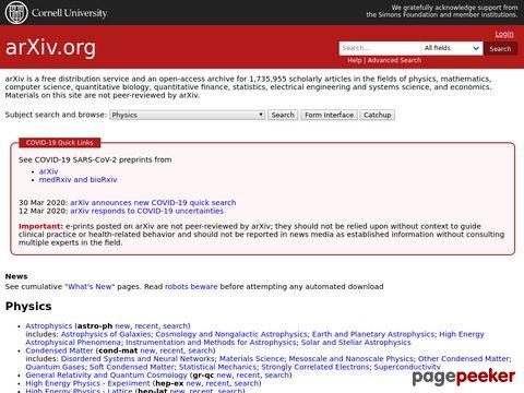 arxiv.org - Datenbank für wissenschaftliche Publikationen