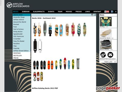 Slalom Skateboards of AIRFLOW and PC SLALOMBOARDS