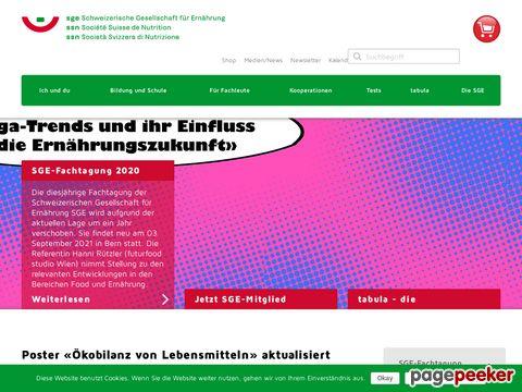 SGE - Schweizerische Gesellschaft für Ernährung