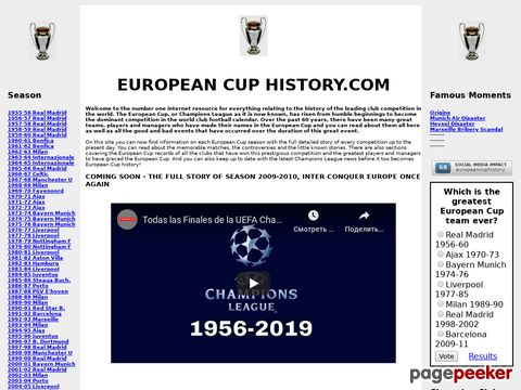 European Cup & Champions League History 1955-2008