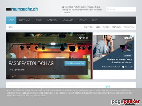raumsuche.ch - Suchmaschine für Partyräume